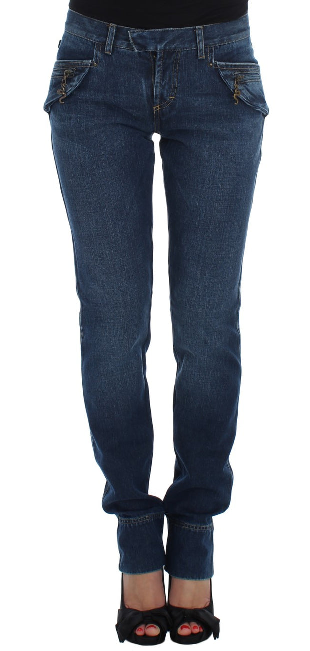 Blue Cotton Slim Fit Jeans