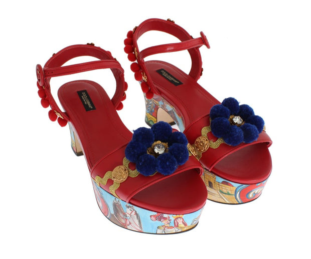 Multicolor Handpainted Carretto Platform Heel