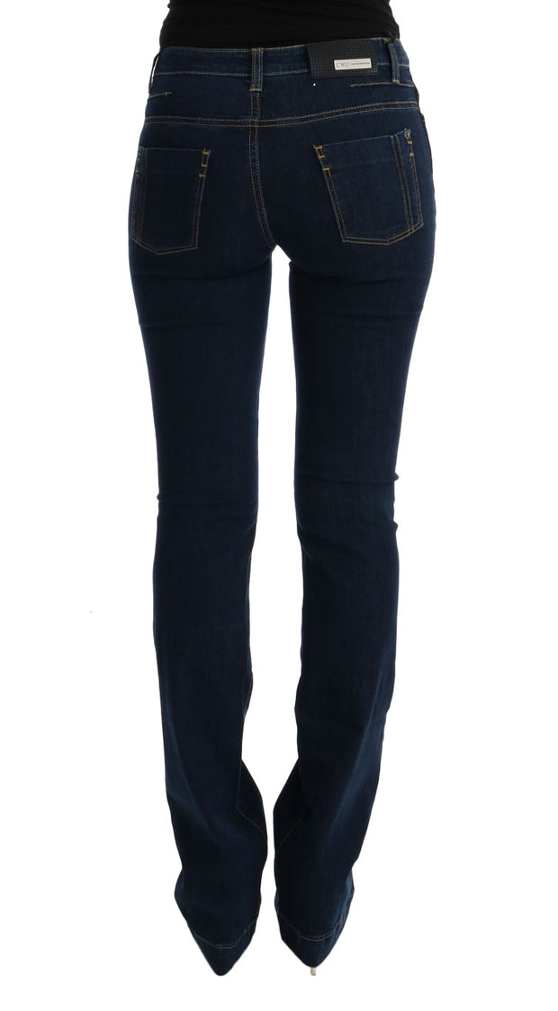 Blue Cotton Bootcut Flared Jeans