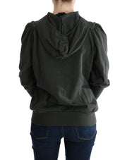 Gray Top Hooded Cotton Zipper Sweater