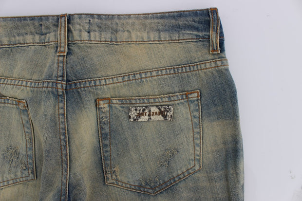 Blue Wash Torn Cotton Straight Fit Jeans