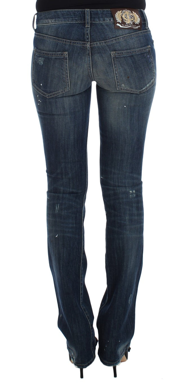 Blue Wash Torn Cotton Stretch Jeans