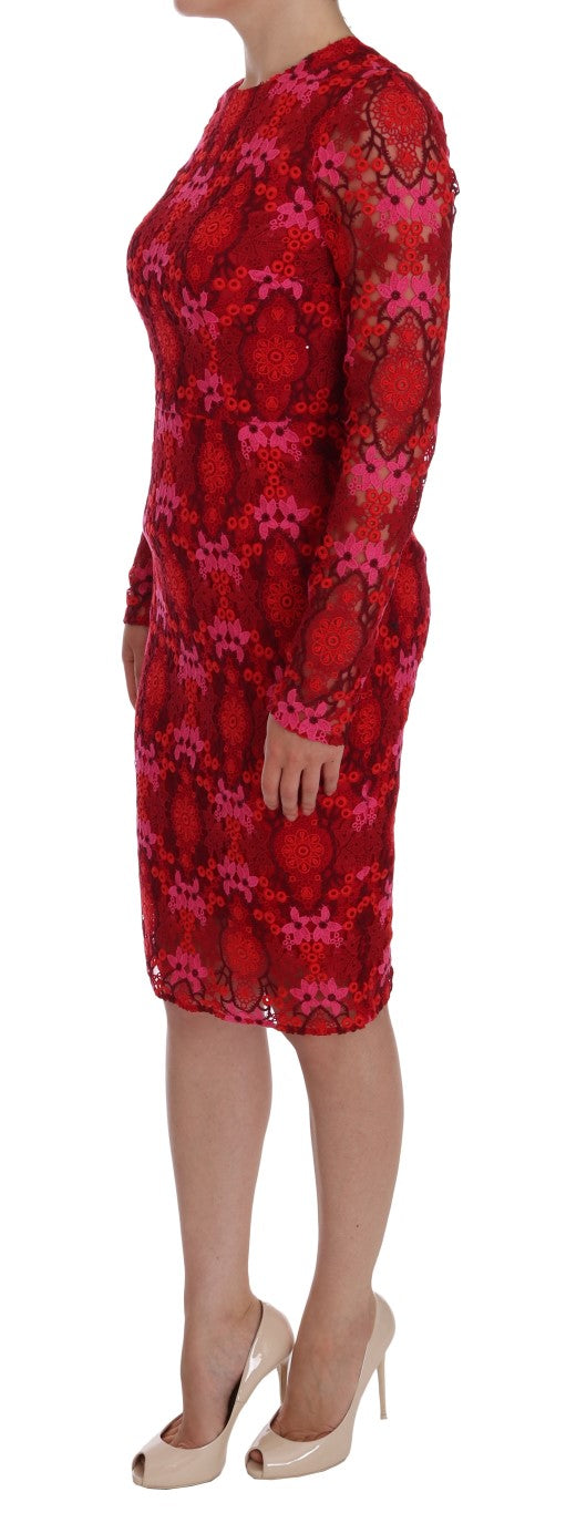 Red Floral Ricamo Sheath Dress