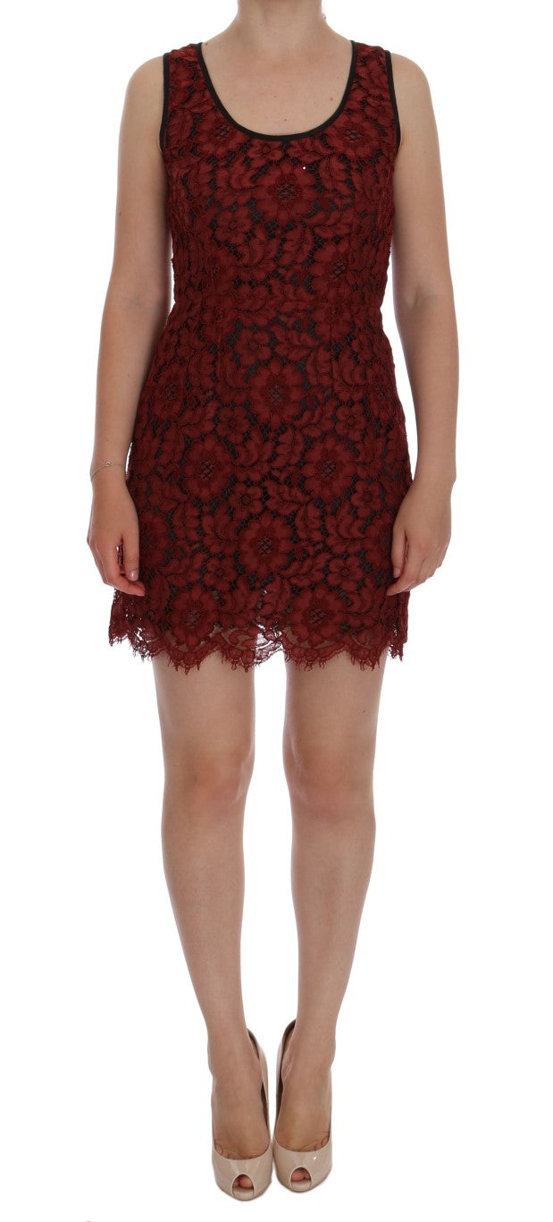 Red Floral Lace Short Mini Shift Dress