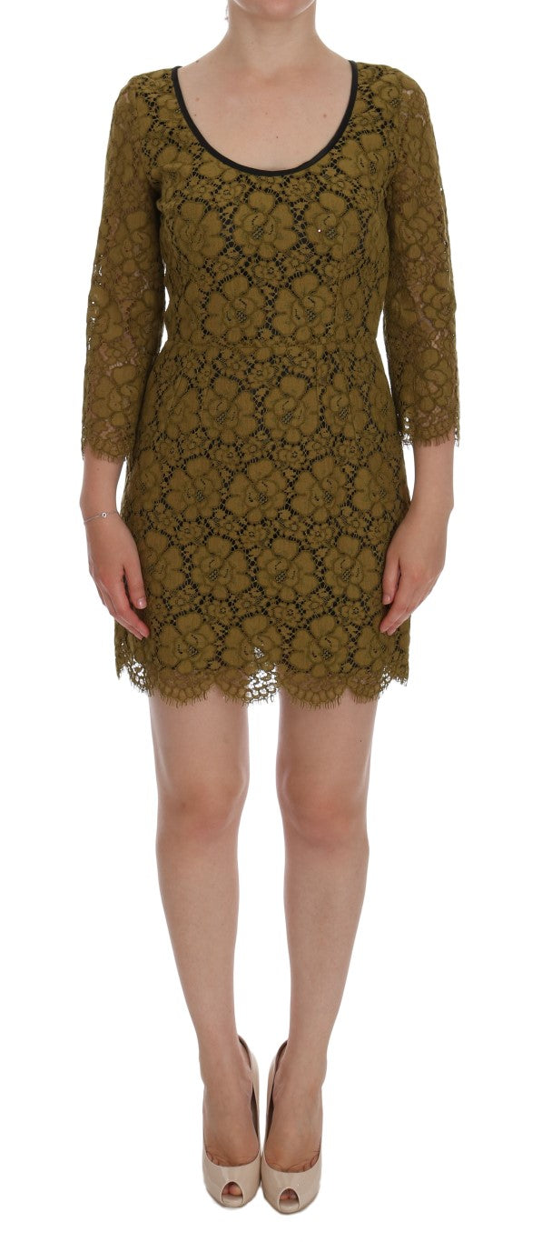 Yellow Floral Lace Short Mini Shift Dress