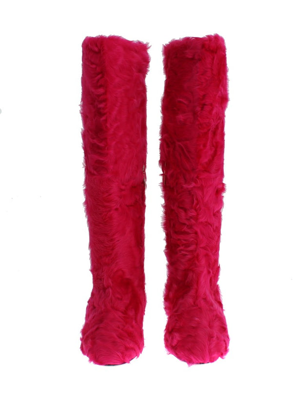 Pink Lamb Fur Leather Flat Boots