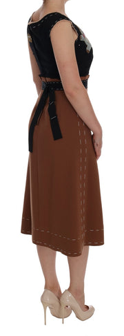 Brown Crystal Bear Key Clock Wool Dresss