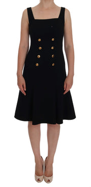 Black Wool Stretch Gold A-Line Shift Dress