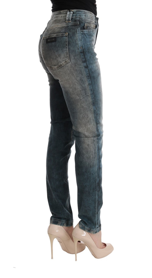 Blue Wash Cotton Blend Slim Fit Jeans