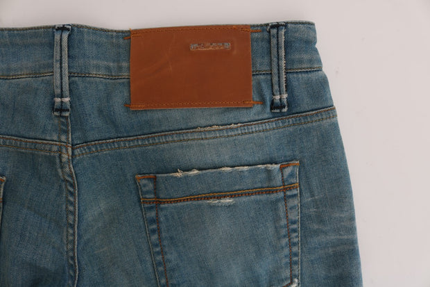 Blue Denim Cotton Bottoms Slim Fit Jeans