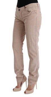 Beige Cotton Velvet Regular Fit Pants