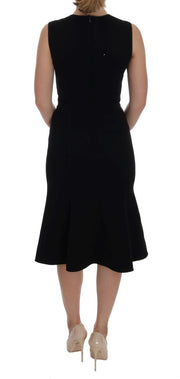 Black Wool Stretch Shift Dress
