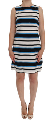 Blue White Striped Silk Stretch Shift Dress