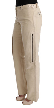 Beige Wool Cropped Regular Fit Pants