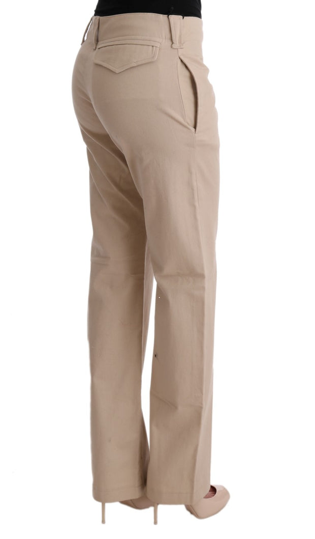 Beige Cotton Wool Regular Fit Pants