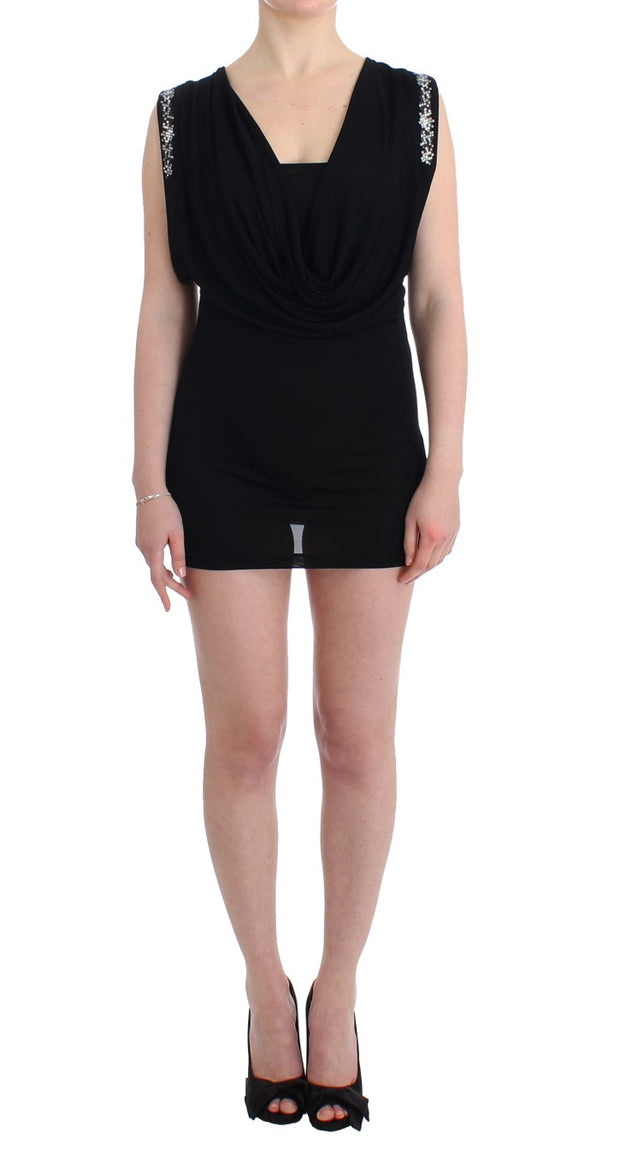 Black Embellished Jersey Mini Sheath Short Dress