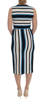 Blue White Striped Silk Stretch Sheath Dress