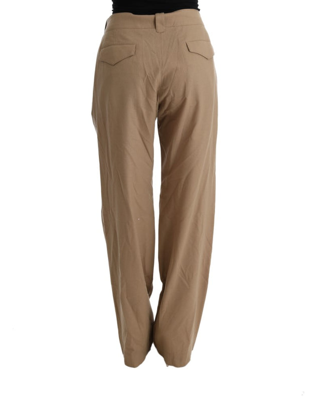 Beige Wool Regular Fit Casual Pants