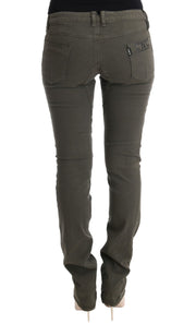Gray Cotton Slim Fit Denim Jeans