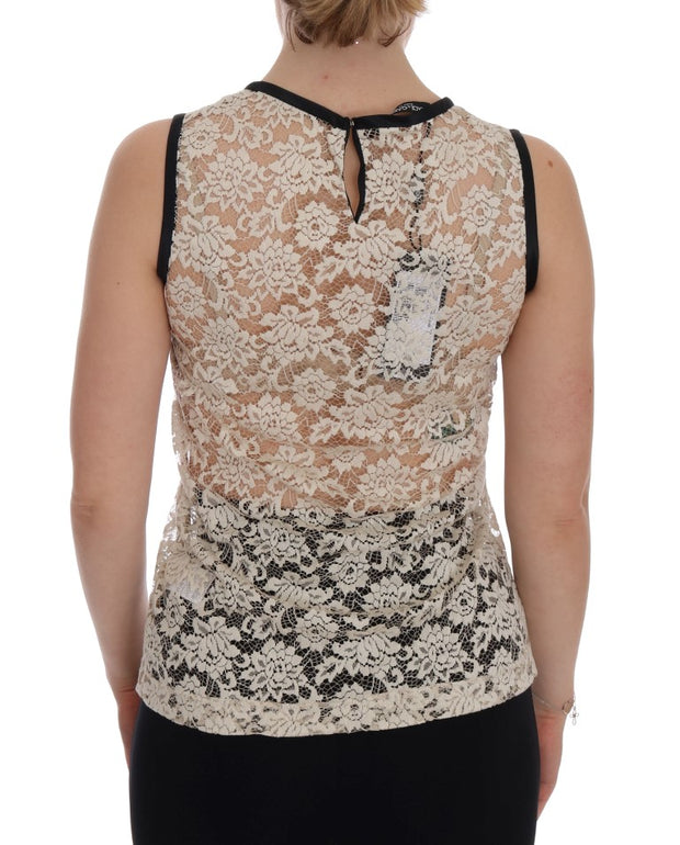 Beige Lace Floral Nylon Cotton Tank Top