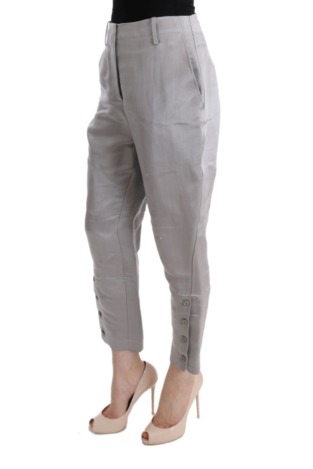 Gray Silk Cropped Casual Pants