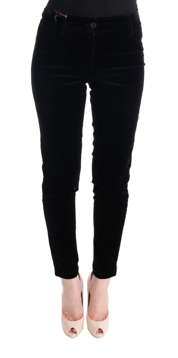 Black Viscose Blend Velvet Cropped Pants