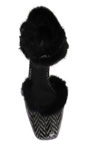 Black White Leather Print Fur Pumps