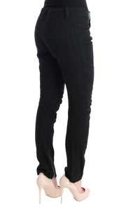 Black Cotton Slim Fit Casual Pants