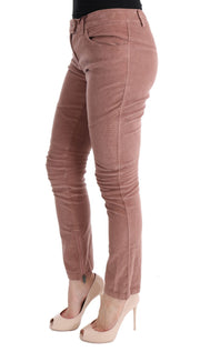 Pink Velvet Cropped Casual Pants