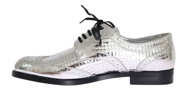 Silver Leather Oxford Broques Flat Shoes