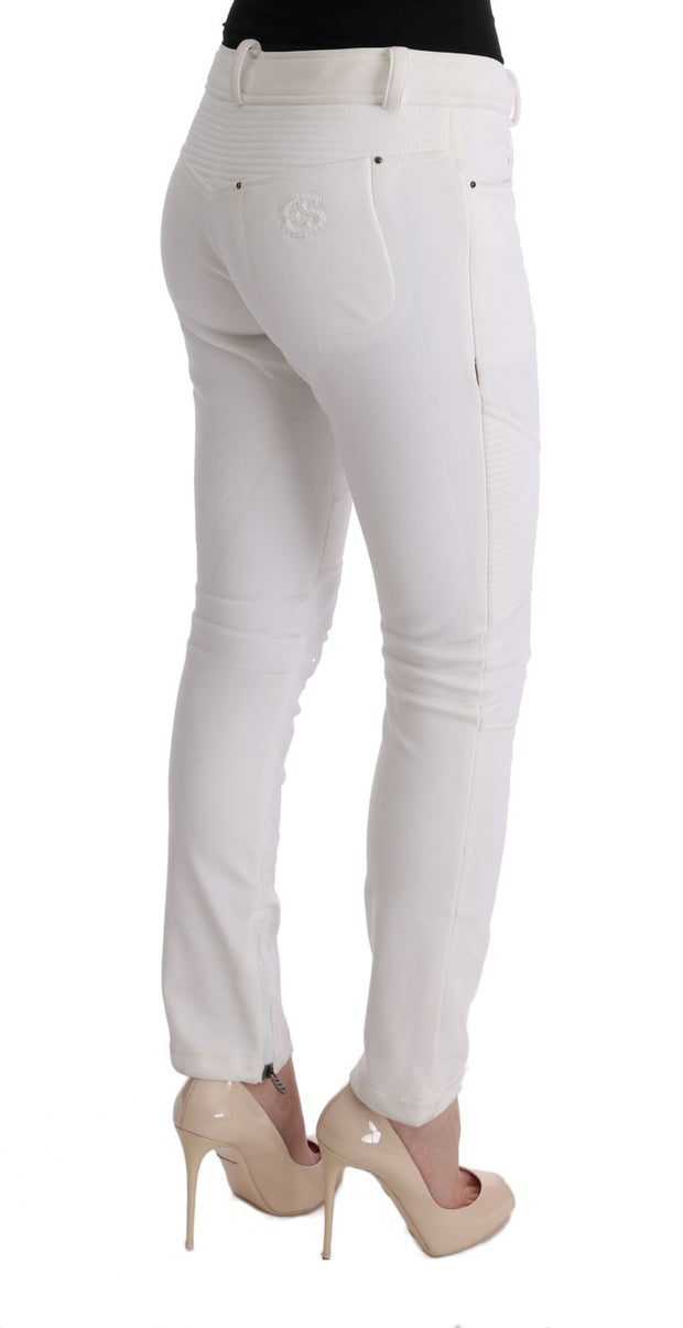 White Cotton Slim Fit Casual Pants