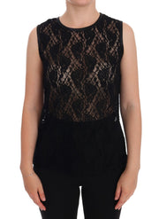 Black Ricamo Lace Transparent Blouse