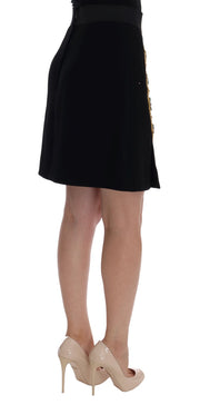 Black Wool Carretto Crystal A-Line Skirt