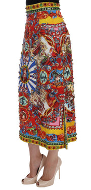 Red Carretto Print Brocade Crystal Skirt