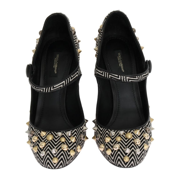 Black White Pony Fur Studded Leather Shoes