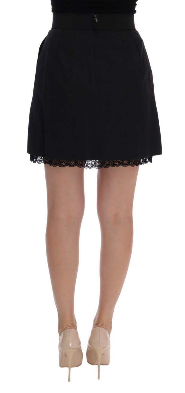 Black Cotton Lace Skirt