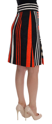 Black Orange Striped Brocade Skirt