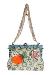 Multicolor VANDA Floral Crystal Blue Snakeskin Bag