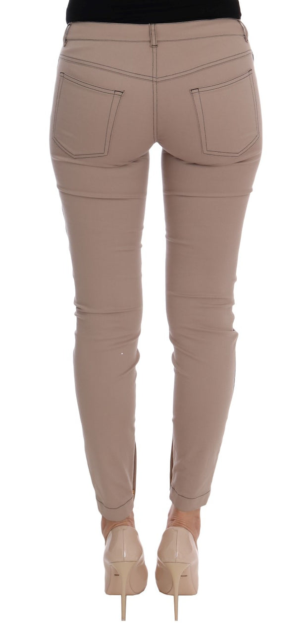 Beige Cotton Stretch Tight Jeans