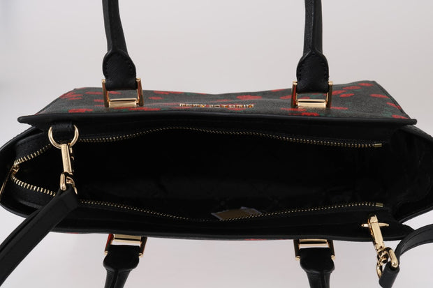 Black Red SELMA Leather Messenger Bag