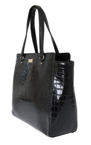 Black Bristol Drive Croc ELISSA Shoulder Bag