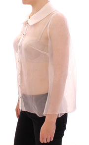 White Silk Crystal Sicily Blouse Shirt