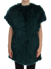 Green Alpaca Fur Vest Sleeveless Jacket