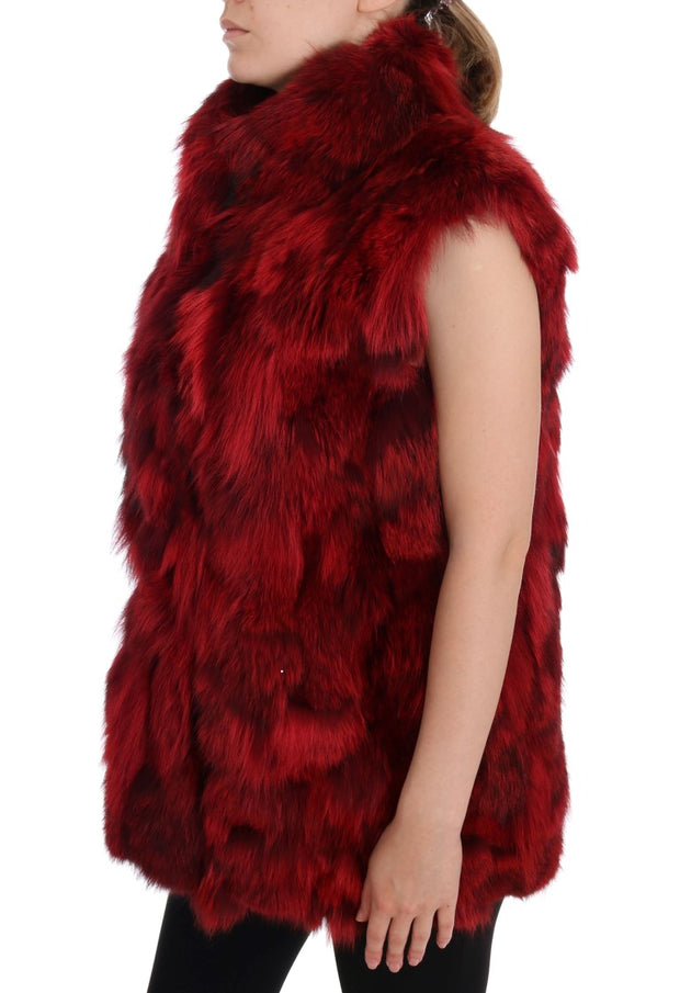 Red Coyote Fur Sleeveless Coat Jacket
