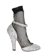 Silver Sequined Leather Socks Pumps