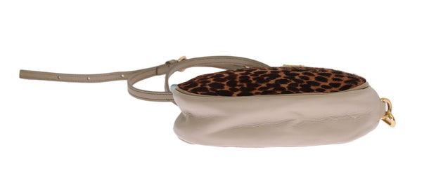 Blue Leather Brown Leopard Fur GLAM Bag