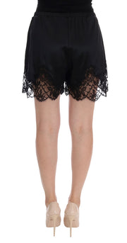 Black Floral Lace Silk Sleepwear Shorts