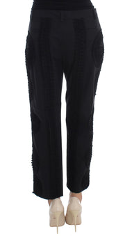 Black Cotton Stretch Torero Capris Pants