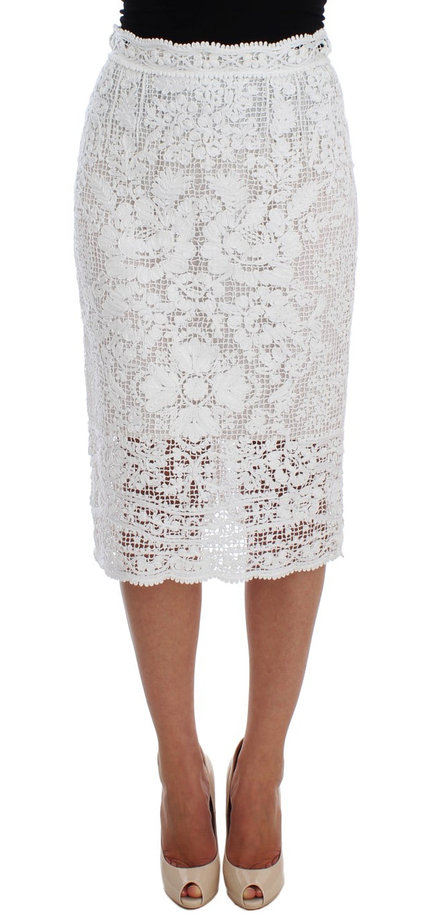 White Cotton Ricamo Lace Pencil Skirt
