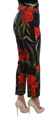 Roses Print High Waist Brocade Pants